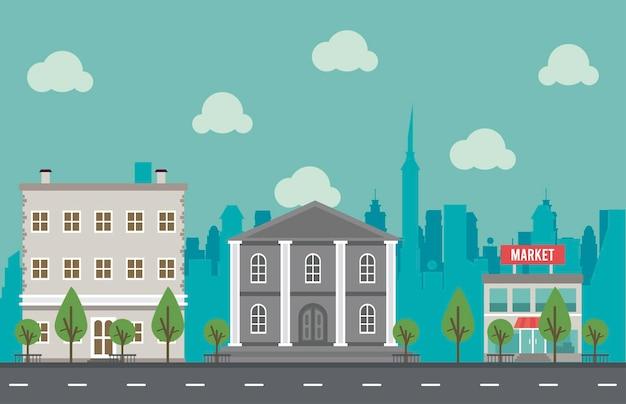 政府の建物と市場のイラストと都市生活メガロポリスの街並みシーン