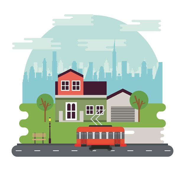 家とトロリー車のイラストと都市生活メガロポリスの街並みシーン
