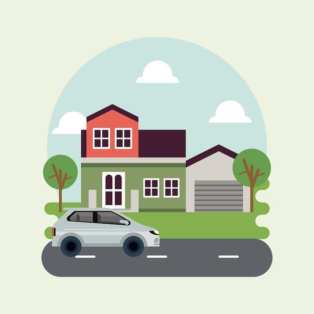 家と車のイラストと都市生活メガロポリスの街並みシーン