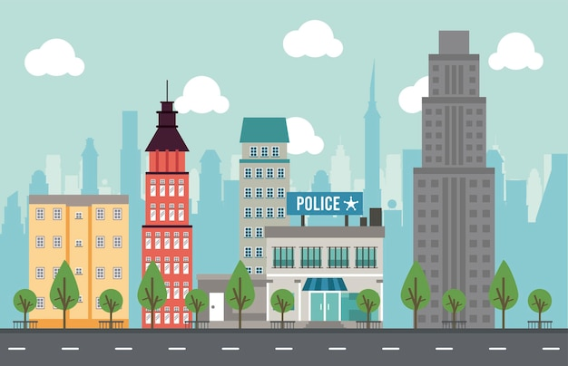 City life megalopolis cityscape scene with police station and skyscrapers  illustration