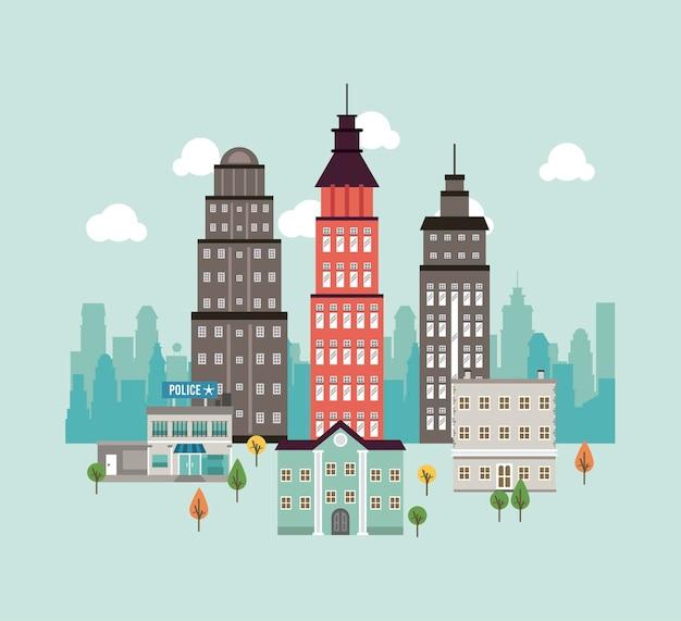 高層ビルと警察署のイラストと都市生活メガロポリスの街並みシーン
