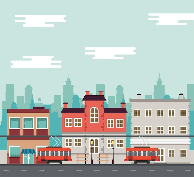トロリー車と建物のイラストと都市生活メガロポリスの街並みシーン