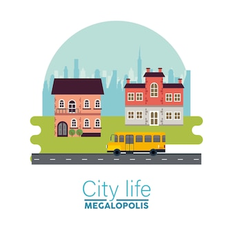 City life megalopolis lettering in cityscape scene with buildings and school bus  illustration