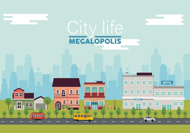 City life megalopolis lettering in cityscape scene with hospital and buildings  illustration