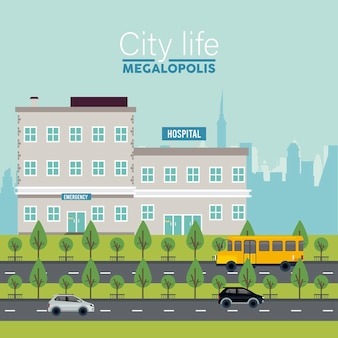 City life megalopolis lettering in cityscape scene with hospital buildings and vehicles  illustration