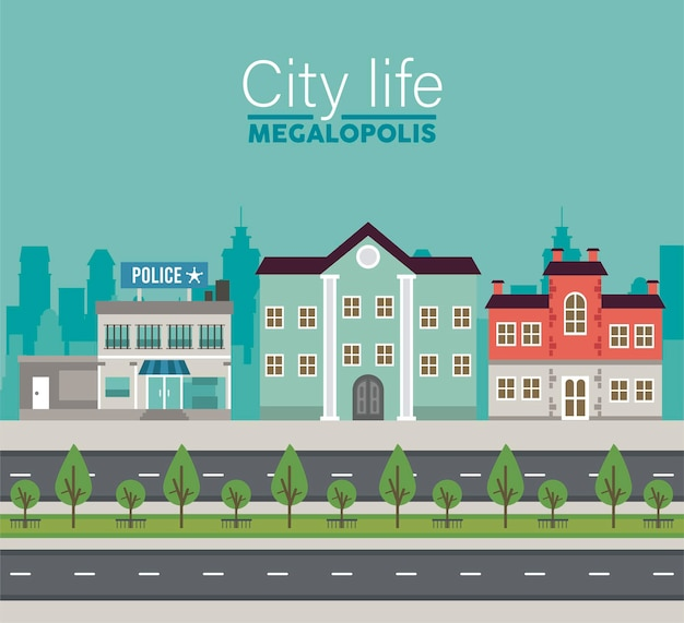 City life megalopolis lettering in cityscape scene with police station and buildings  illustration