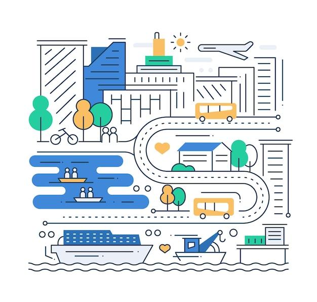 都市生活-都市景観を備えたモダンなラインフラットデザイン都市構成
