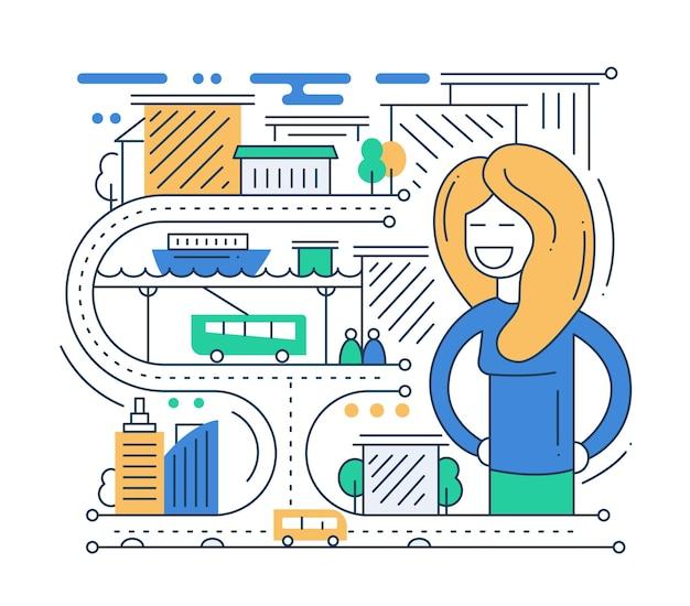 Городская жизнь - современная линия плоского дизайна городская композиция с автомобилями и счастливой женщиной