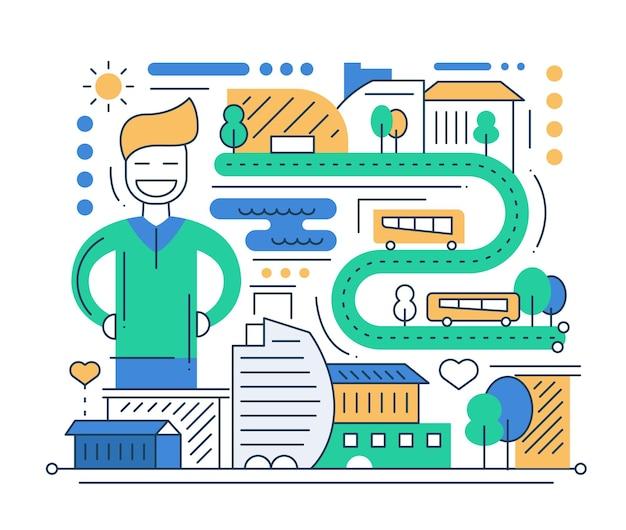 Городская жизнь - современная линия плоского дизайна городская композиция с автомобилями и счастливым мужчиной