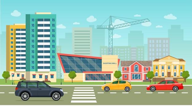 Городская жизнь с автомобилями, дорожными зданиями, городская улица, панорамная векторная иллюстрация в плоском стиле