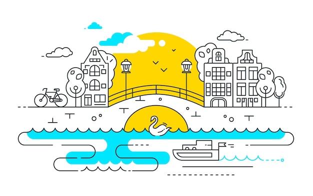 도시 생활 - 도시 풍경과 벡터 현대적인 라인 평면 디자인 도시 구성