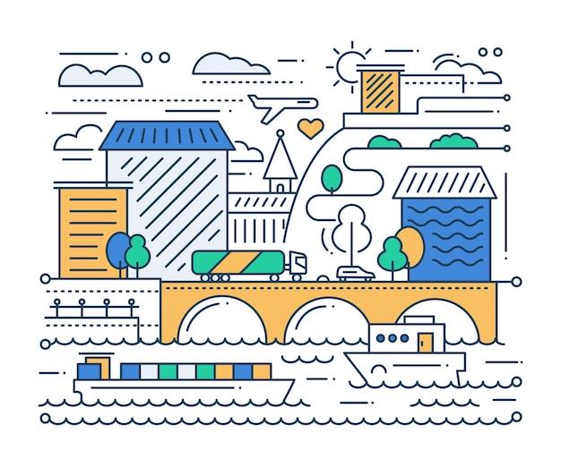 都市生活-街並みとベクトルモダンなシンプルなラインフラットデザイン都市構成