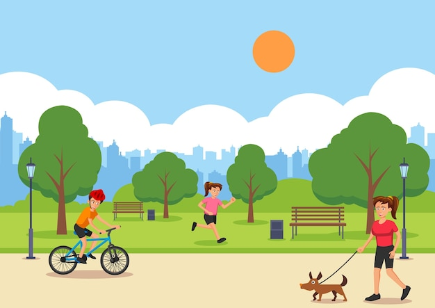 City lifestyle in cartoon version with scene of park