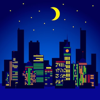 City lights vector illustration in flat stile