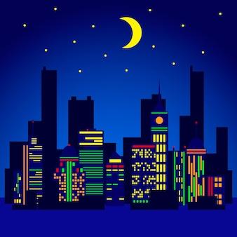 Городские огни векторные иллюстрации в плоском стиле