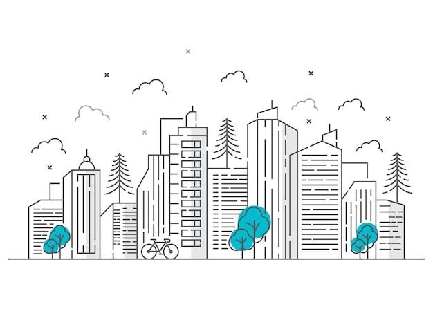 자전거와 도시 라인 일러스트 디자인