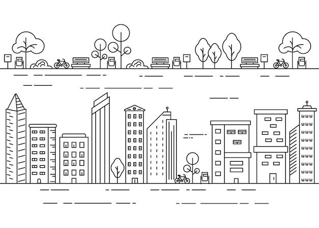 City line illustration with urban park concept