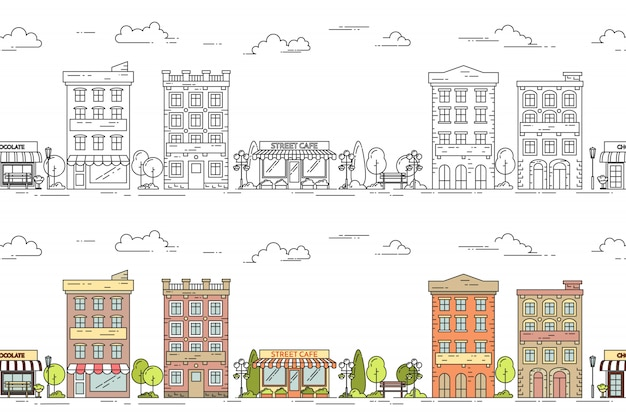 City line vector illustration seamless pattern set with vintage multi storey apartment hou