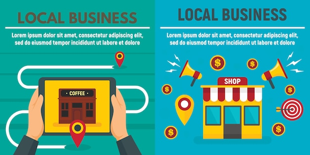 City local business shop banner template set, flat style illustration