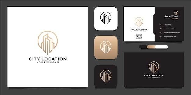 City location logo design with line and business card premium vector