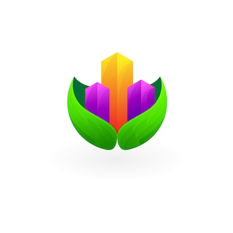 都市のロゴと葉のデザイン自然アイコン、3dスタイル