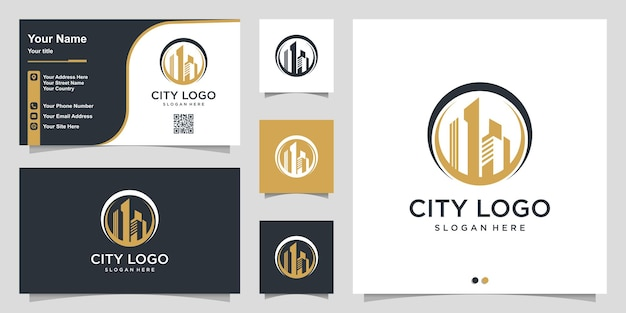 City logo with modern circle concept and business card design template premium vector