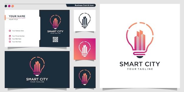 Городской логотип с современным творческим стилем символа и шаблоном дизайна визитной карточки