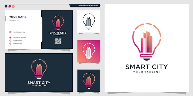 City logo with modern creative symbol style and business card design template