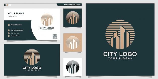 Логотип города с новой уникальной концепцией и шаблоном дизайна визитной карточки
