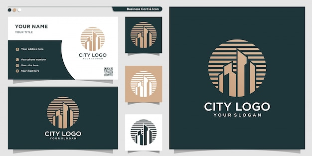 City logo with new and unique concept and business card design template