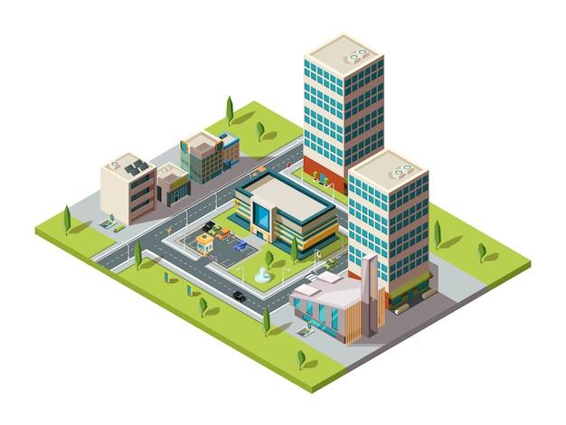 Городской торговый центр. городской изометрический пейзаж с большим современным зданием торгового гипермаркета карта торгового центра