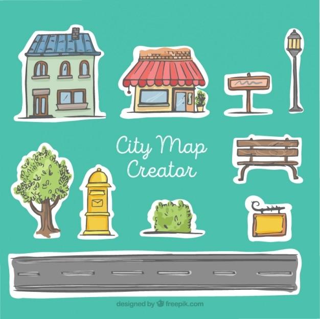 City map creator, hand drawn style