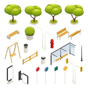 City map elements constructor isometric icon set swings road signs trees benches bus stop vector illustration