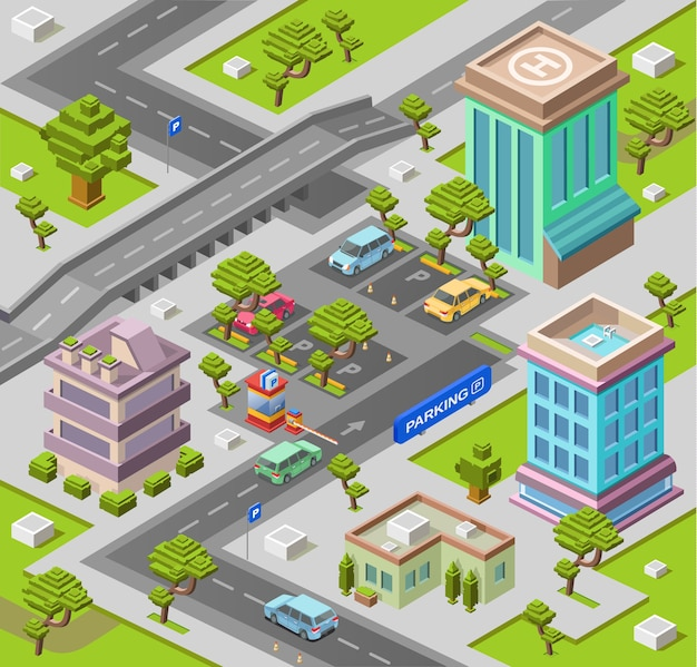 駐車場のための都市地図またはオフィスと住宅の建物の地図