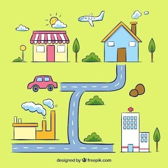 交通手段を備えた都市地図イラスト
