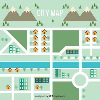 Иллюстрация карты города с горами