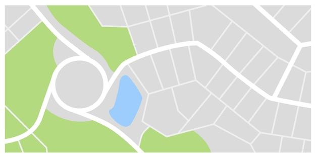 都市地図。緑の公園と川のある街並み。ダウンタウンgpsナビゲーションプラン
