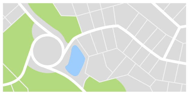 City map. town streets with green line park and river. downtown gps navigation plan