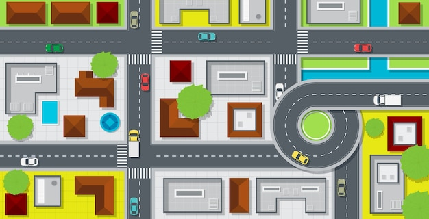 City map with buildings and cars on the road