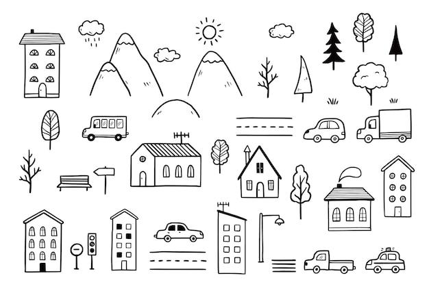 家の風景要素を持つ都市地図