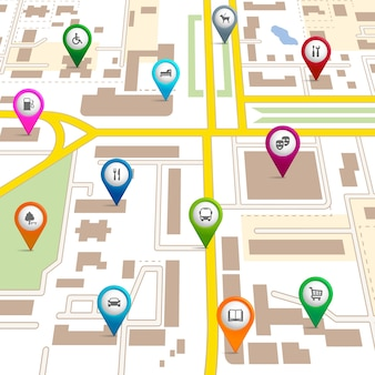 Карта города с указателями, показывающими расположение различных служб, таких как театр, гараж, гостиница, больница, супермаркет, ресторан, парк, выгул собак, автобусная библиотека и автостоянка.