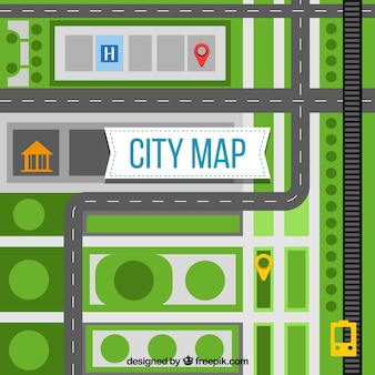 City map with roads and green spaces