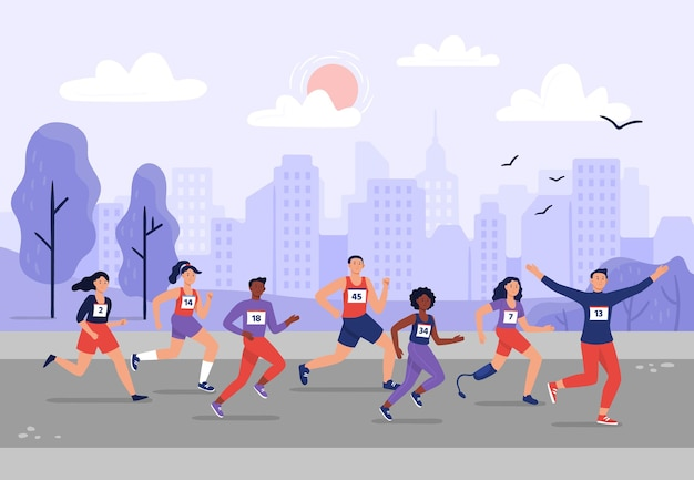 City marathon. people running together, athletic training and sport marathons runners illustration.