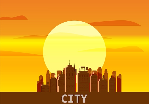 City megapolis sunset skyline silhouettes of skyscrapers