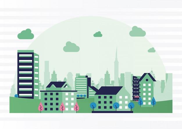 Городской минимальный городской пейзаж