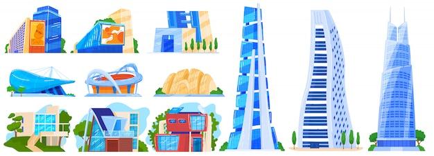 도시 현대 건물 일러스트 세트, 도시 도시 집, 비즈니스 사무실 또는 집 마천루 타워의 만화 모음