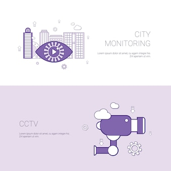 City monitoring and cctv concept template banner