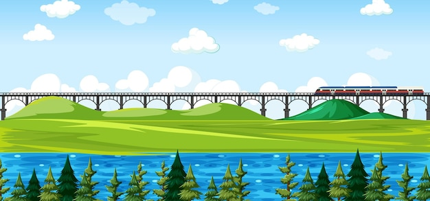 City nature park with train on skyline landscape scene