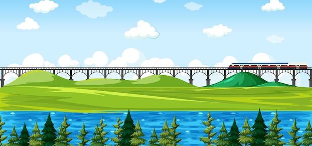 City nature park with train on skyline landscape scene