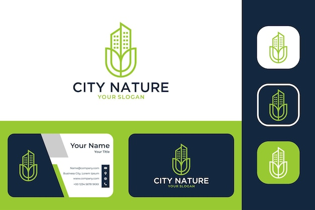 City nature real estate logo design and business card